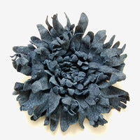Navy blue leather flower pin brooch
