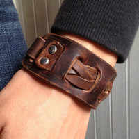 Antique Men&#x27;s Brown Leather Cuff Bracelet, Leather Wrist Band Wristband Handcrafted Jewelry