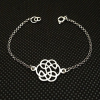 Sliver chain with  Silver Endless knot  Bracelet, Wedding Day, Anniversary, Birthday Gift, Adjustable wish bracelet