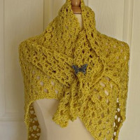 Crochet Gold Lacy Triangular Shawl by FairyThimbles on Etsy