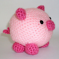 Pig Amigurumi Crochet Stuffed Animal Pink by HookAndStitches