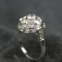 Platinum Diamond Bombe Engagement Ring by Ruby Gray's | Ruby Gray's Antique & Vintage Rings