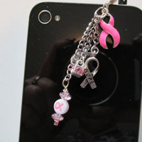 Breast Cancer Awareness Phone Charm, Pink Ribbon Phone Charm