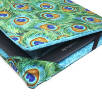Kindle Keyboard Cover  Peacock Feathers  kindle cover by beesocks