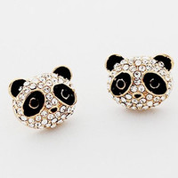 Austrian Diamond Lovely Panda Stud Earrings