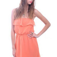 Dawn Over The Horizon Dress by MM Couture | Orange Strapless Dress | Mod Dresses | MessesOfDresses.com