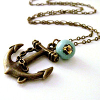 Nautical Anchor Necklace Ocean Wedding by laurenblythedesigns