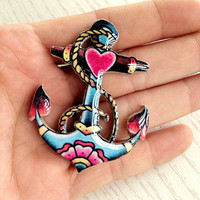 Sailor Anchor Nautical Tattoo Brooch