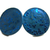 blue lagoon dime earrings blue glitter coin jewelry