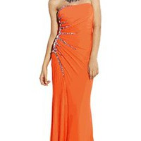 Strapless Sunburst Gem Jersey Prom Dress Formal Gown | Junior Plus Size Prom Dresses