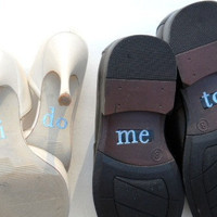 His &amp; Hers I DO Shoe Stickers in Blue