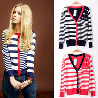 Knitted Pocket Navy Striped Cardigan $12.96