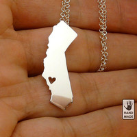 BIG Shiny CALIFORNIA state, sterling silver necklace, sterling silver chain, custom heart