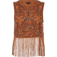 Brown sequin embellished fringed tank top