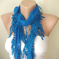 Blue 100 Cotton Spring Scarf with Lace by Periay on Etsy