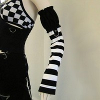 Black and White Striped Puff Top Arm Warmers by aNGrYGiRLGear
