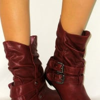 SO COMFY Flat Slouchy Calf Buckle Riding Boot