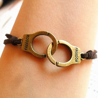 retro bronze handcuff bracelet  Love Jail Prison by JanesGiftStore