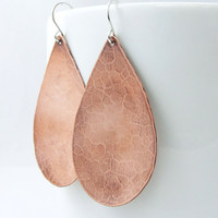 As Seen on Pretty Little Liars - Hammered Copper Earrings worn by Nia Peeples