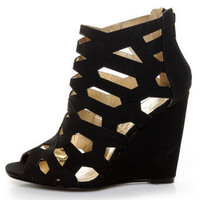Yoki Donya Black Cutout Cage Wedge Booties - $37.00