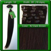 Pro Premier Remy Clip-In Human Hair Extensions, Dark Brown