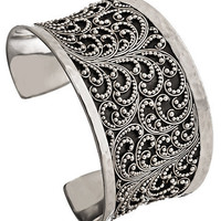 Max &amp; Chloe - Lois Hill Large Hammered Border Filigree Cuff - Max and Chloe