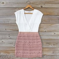 Tucked Lace Dress in Sand, Sweet Women's Country Clothing