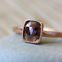 Rose Cut Diamond and 14k Rose Gold Ring, Cushion Cut Chocolate Diamond Ring, Made in Your Size