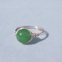 "Handmade Wire Wrapped Ring, Natural Aventurine Stone ""Briley"""