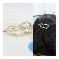 Corean Lovely and Graceful Style Loving Heart Shape and Faux Pearls Decorated Hair Pin