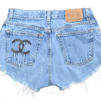 High Waisted Denim Shorts Drip letters