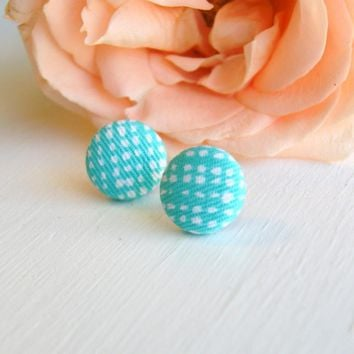 Robin Egg Blue Fabric Button Stud Earrings | Luulla