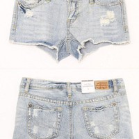 Light Blue Hole Torn Denim Shorts