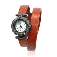 Classical Flower Print Leather Wrap Watch