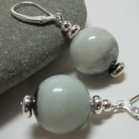 Blue amazonite round bead earrings