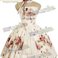 Classical Lolita Spiral Steel Boned Corsage Dress & Choker Set*2color Instant Shipping