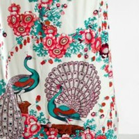 Pink and Turquoise Floral Peacock Shower Curtain