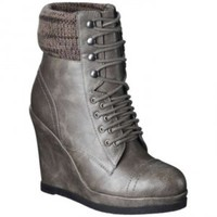 Mossimo Platform Platform Wedge Boots, Boots, Booties Grey/pewter Wedges at 31% off on Tradesy