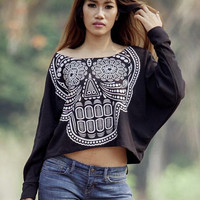 Skull sweatshirt,Skull sweater,Skull Printed  on Pullover Oversize style Bat Style Half Body In Black