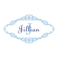 Personalized Name and Initial Scrolled Monogram Wall Decal Vinyl Wall Art Sticker