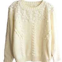 Cable Knit Sweater with Crochet Lace Panel Details