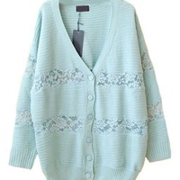V-neck Cardigans with Lace Panel Insert
