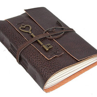 Brown Vegan Faux Leather Journal with Heart Key Charm Bookmark