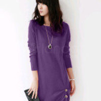Pretty Purple Cashmere Long Sleeves Womens Dress - Milanoo.com