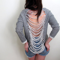 Shredded Sweater Womens See Through Back Grey Gray Distressed Sweatshirt Hoodie