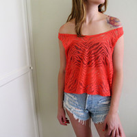 Pink See Through Crop Top Zebra Print Red Orange Festival Shirt Womens