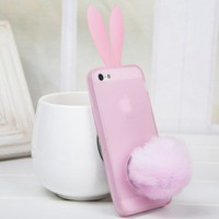 Lovely Bunny Rabbit Ear Tail Silicone Case Skin Cover for Iphone 5