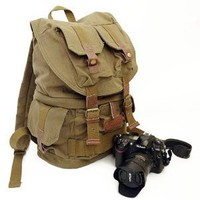 Koolertron Canvas DSLR SLR Camera Shoulder Bag Backpack Rucksack Bag With Waterproof Rain Cover For Sony Canon Nikon Olympus