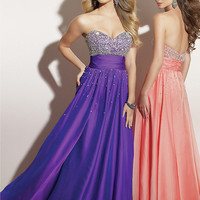 A-line Chiffon Beaded Floor Length Graduation Dress-sinospecial.com