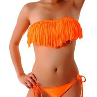 Amazon.com: Cloris Murphy Sexy Fringed Tassel Orange Strapless Bikini Top & Bottom Swimwear Bathing Suit BN917OR M & L size Orange: Clothing